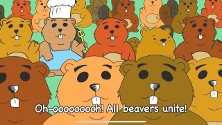 """Cartoon graphic of beavers, with the caption """"oh-oooh! All beavers unite!"""""""