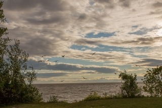 Clouds over Lake Winnipeg at Grand Beach