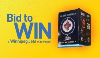 """A graphic that says """"bid to win a Winnipeg Jets mini fridge and shows a picture of the prize"""