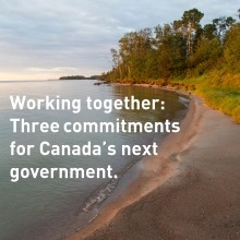 "Lake Winnipeg shoreline with sandy beach and trees and the text ""Working together: Three commitments for Canada's next government"