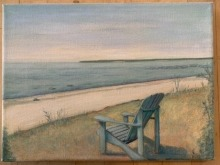 Painting of an adriondack patio chair looking out onto the lake