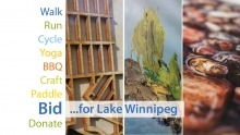 Bid for Lake Winnipeg. Image includes close-ups of three different pieces of art.