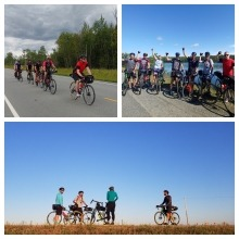 A photo collage of cyclists