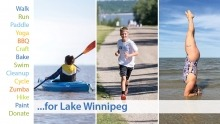 A graphic with different suggestions of activities for how you can support a healthy Lake Winnipeg with your favourite summer activity