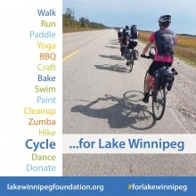 a graphic with text of fundraising activities for Lake Winnipeg with a photo of people cycling