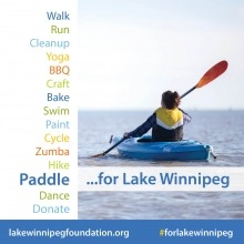 a graphic with text of fundraising activities for Lake Winnipeg with a photo of a woman paddling a kayak