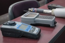 Various devices used to test different properties of water.