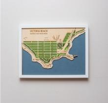 Laser cut map of Victoria Beach