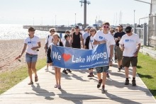 A group of people walking in Gimli's Walk for Water
