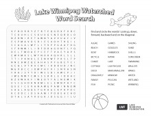 A picture of the Lake Winnipeg Watershed Word Search