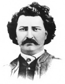 A black and white photo of Louis Riel