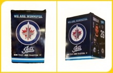 A photo of both the front view and the three-quarter view of a Winnipeg Jets mini fridge